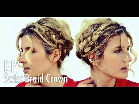 DIY Swiss Braids Braid Crown Hair Tutorial with Mr. Kate