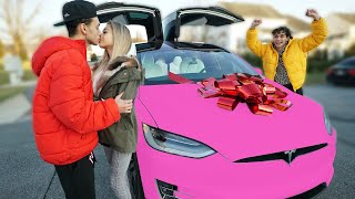 SURPRISING MY GIRLFRIEND WITH A NEW TESLA!