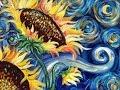 Sunflowers Tutorial   Vincent Van Gogh Starry Night   Beginner Acrylic Painting