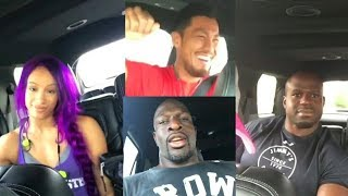 WWE Sasha Banks Apollo Crews Akira Tozawa & Titus O'Neil Funny Dancing Together In Their Car Video.✔