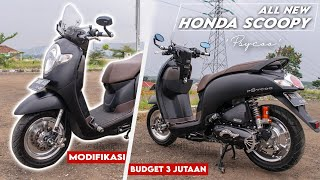 "Modifikasi Honda Scoopy 2017 ""Psycoo"" Stylish Mate Black with Silver Chrome accent."