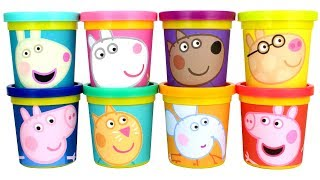 Learn Colors for Kids with Peppa Pig and her Frients using Play Doh Molds