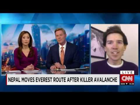 Mt. Everest guide, Adrian Ballinger, appearing on CNN International.