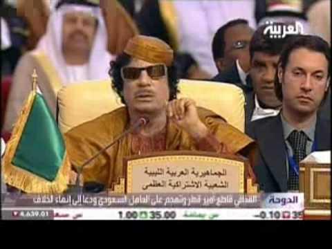 الملك عبد الله يغادر القمّة بعد تهجّم القذافي video