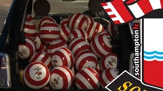 Saints fans search for #EarnYourStripes footballs