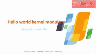Linux embedded Unit 9 Hello world kernel module