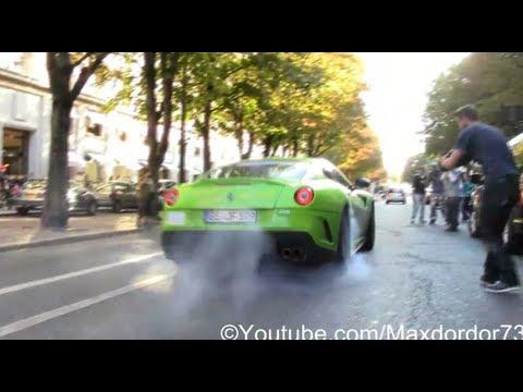 Crazy Green Ferrari 599 GTO in Paris, Burnout !!!