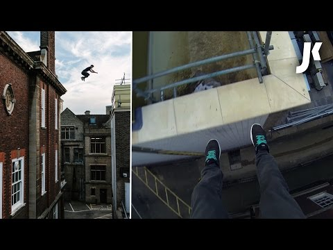 Parkour and Freerunning on Rooftops of Cambridge | James Kingston Extreme Climbing POV Adventures