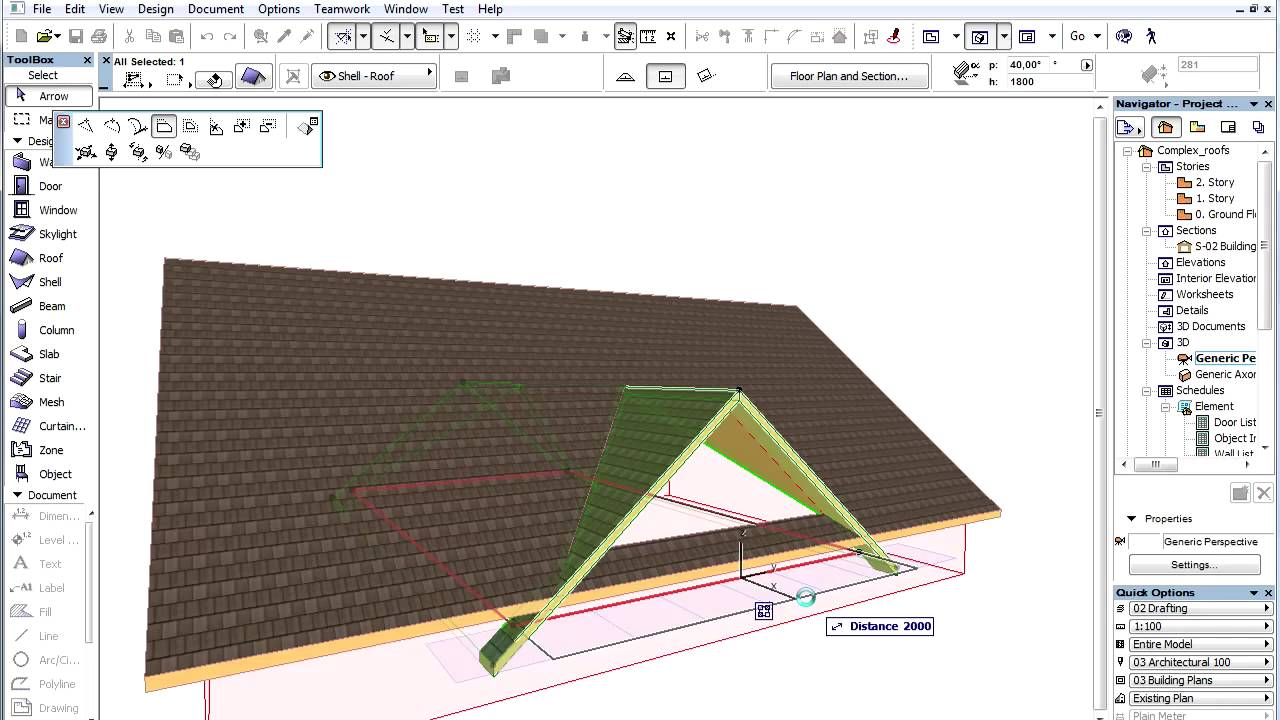 Archicad 15 Complex Roofs Cross Gable Roof Youtube