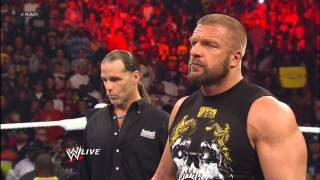 Shawn Michaels predicts Triple H will defeat Brock Lesnar at WrestleMania: Raw, April 1, 2013