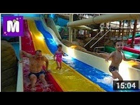 Катаемся на горках и плаваем в бассейнах Аквапарк в Англии Макс готовит Тортилла Рэп в ресторане