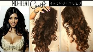 ★ NO-HEAT KIM KARDASHIAN CURLS WAVES | HEATLESS CUTE SCHOOL HAIRSTYLES FOR MEDIUM LONG HAIR TUTORIAL