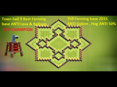 Coc town hall 9 champion th9 farming base 2015 defense replay anti
