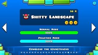 Geometry Dash - 'Shitty Landscape' 100% Complete.