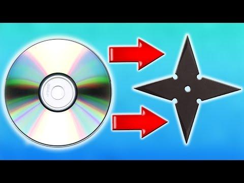 Как сделать звездочку ниндзя из CD диска в домашних условиях своими руками