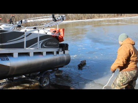 How to launch a boat in the ice in just 376 easy steps!!! Funny boat ramp video