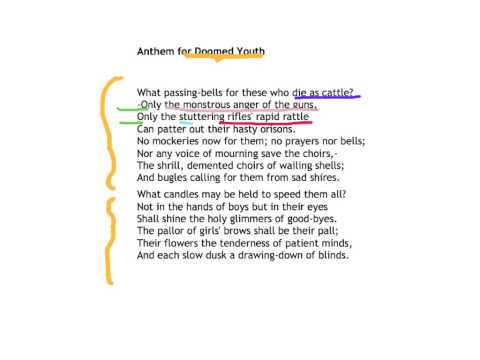 anthem for doomed youth shows the futility of war Looking at anthem for doomed youth, an elegiac sonnet the punchy one syllable words encapsulates the panic and in the attempt to show that war prematurely ages the men documents similar to wilfred owen pity of war skip carousel.
