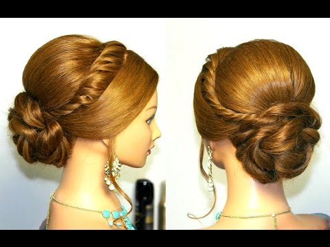 Wedding prom updo, hairstyle for long hair.