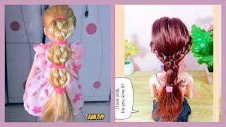 DIY 2 cute doll hairstyles / Cách làm 2 kiểu tóc đẹp cho búp bê / Ami DIY