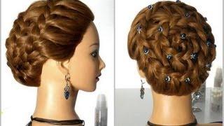 """Прическа на длинные и средние волосы """"Улитка"""". Плетение косы вокруг головы."""