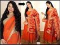 No Sew DIY | How to make Lehenga from Old Saree | How to wear Saree like Lehenga