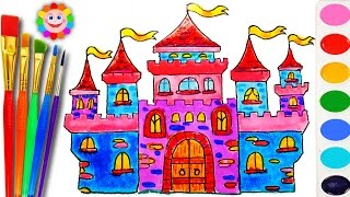 How to Draw and Color a Castle House for Kids | Coloring Book with Water Color for Kids