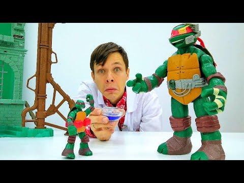 Рафаэль стал Гигантом. Черепашки Ниндзя видео с игрушками.