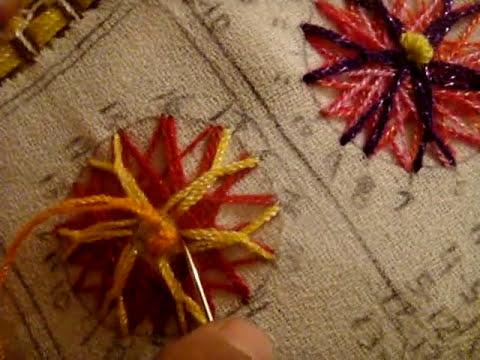 como hacer  flor  araña Marimur puntada  muestrario fantasia 3
