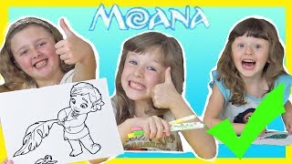Moana 3 Marker Challenge with Ava Isla and Olivia who is BEST !