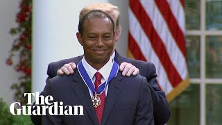 Tiger Woods receives highest civilian award form Donald Trump