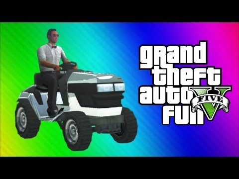 GTA 5 Online Funny Moments Gameplay - Lawn Mower Squad. Security Cameras. Cutters. Burger Stand