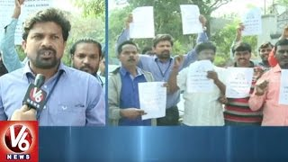 Cab Drivers Protest At Ola And Uber Offices Due To Lack Of Incentives | Hyderabad | V6 News
