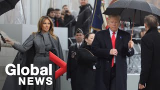 Donald Trump finally arrives at Arc de Triomphe for Armistice ceremony