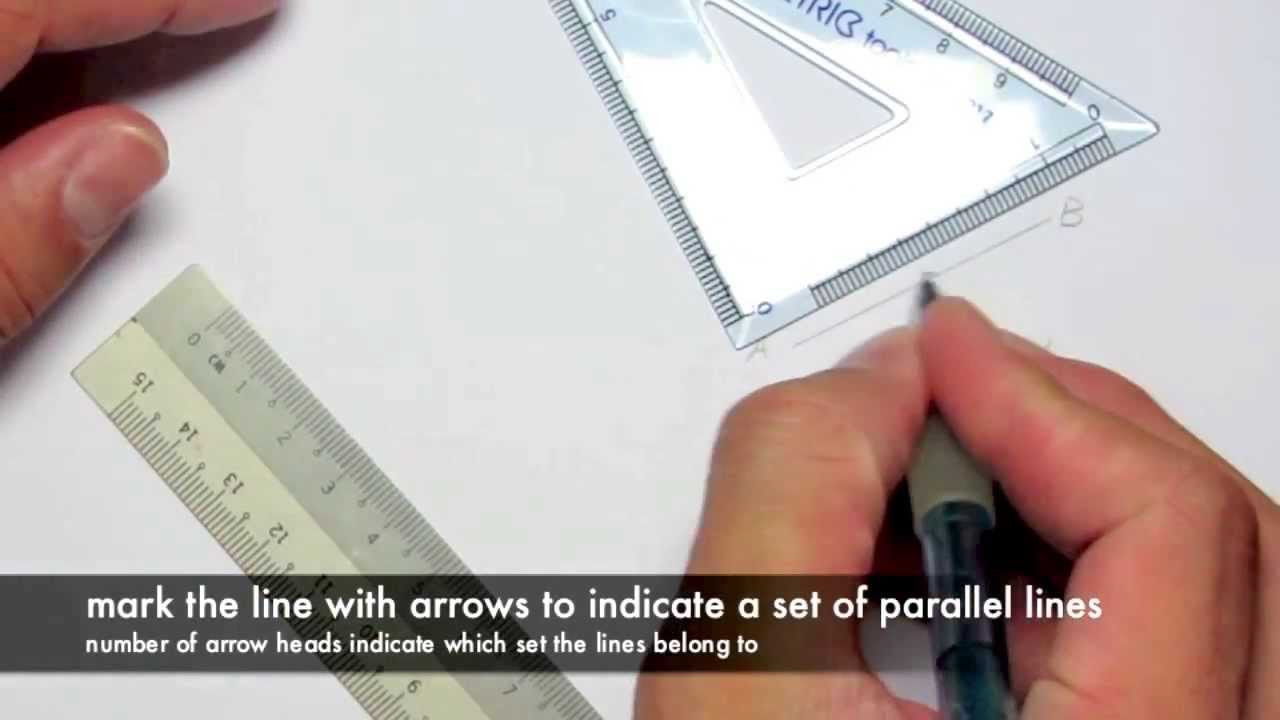 Drawing Parallel Lines With Set Squares : Geometry drawing parallel lines youtube