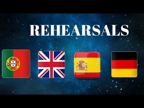 Eurovision 2018 Rehearsals - Portugal, United Kingdom, Spain & Germany (Press Center)