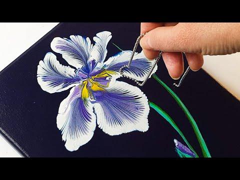 BEAUTIFUL Purple Iris Flower Chain Pull | ABcreative Acrylic Pouring Tutorial