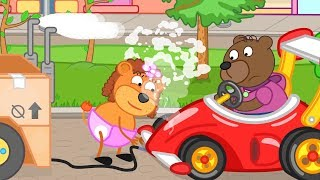 Lion Family Whose Car is Better Cartoon for Kids