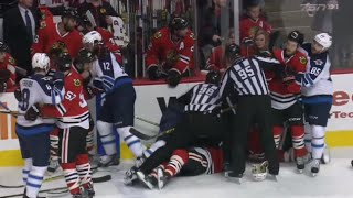Bryan Bickell Big Hit on Dustin Byfuglien