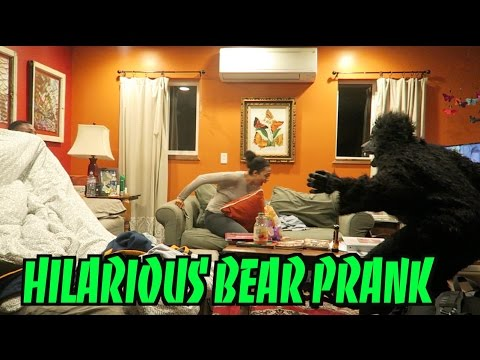 HILARIOUS BEAR PRANK IN THE WOODS!