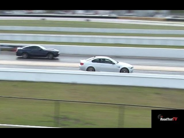 Mustang GT 5.0 vs BMW M3 V8 - 1/4 mile Drag Race Video - Street Car Drags