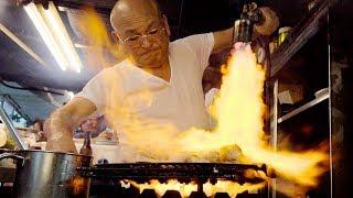 FLAMETHROWER TUNA - Japanese Street Food in Osaka, Japan | CRAZY Street Food in Japan (居酒屋とよ)