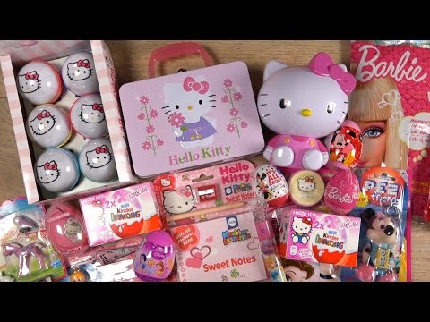 HELLO KITTY & BARBIE Candy Toys DISNEY PRINCESS Minnie Mouse Kinder Surprise Playmobil PEZ