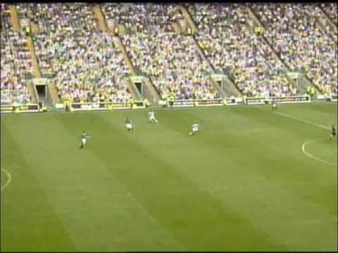 Henrik Larsson chipped goal for Celtic against rangers..
