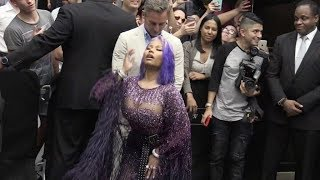Nicki Minaj gives some love to the fans at the Fashion Media Awards in NYC