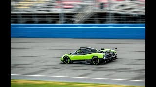 RARE PAGANI ZONDA CINQUE Driving On NASCAR Race Track! High Speed Flyby Sound