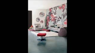 Modern Bedroom Flower On Wall Interior Design Ideas