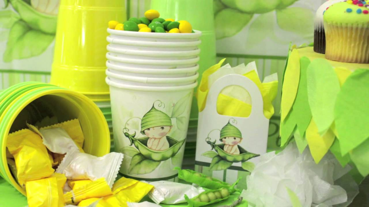 Sweet pea baby shower party supplies youtube for Baby shower decoration stores
