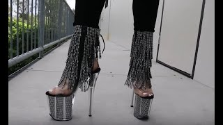 Unboxing Try On Pleaser FLAMINGO-1017SRS High Heel 8 Inch Rhinestone Fringe Boots