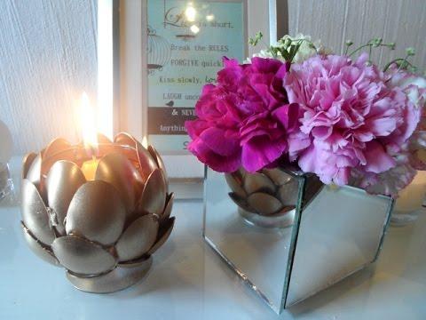 Diy florero de espejos y portavela youtube for Espejos ovalados para decorar