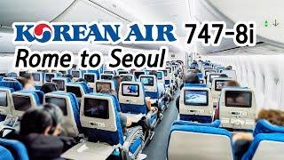 TRIP REPORT | Korean Air Boeing 747-8i (Economy) | Rome FCO - Seoul ICN | 대한항공 보잉 747-8i 로마 후기